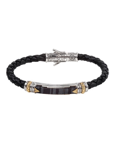 18K Gold/Silver Braided Leather Ferrite Bar Bracelet
