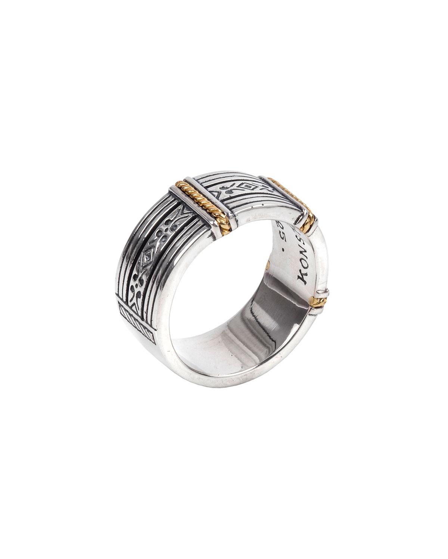 Men's 18K Gold/Silver Carved Band Ring