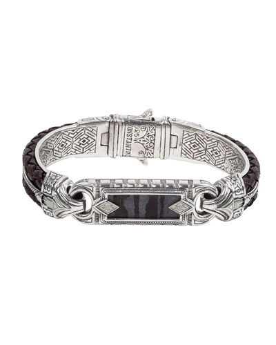 Carved Sterling Silver & Leather Ferrite Bracelet