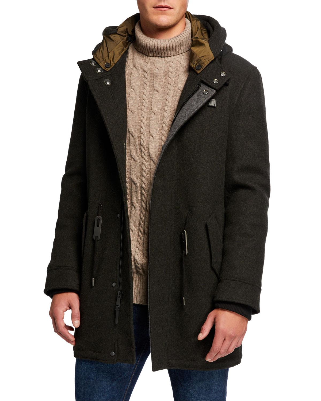 Cole Haan Coats MEN'S HOODED STRETCH-WOOL PARKA COAT
