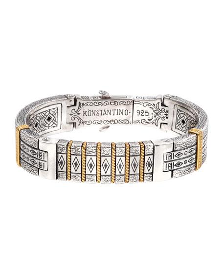 Konstantino 18K Gold/Silver Carved Bangle Bracelet