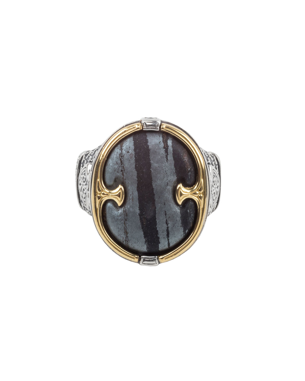18K Gold/Silver Ferrite Ring