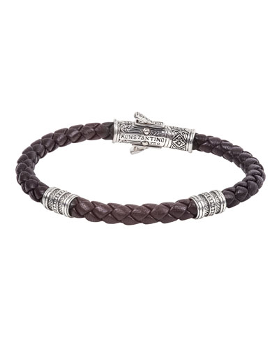 18K White Gold Braided Leather Bracelet