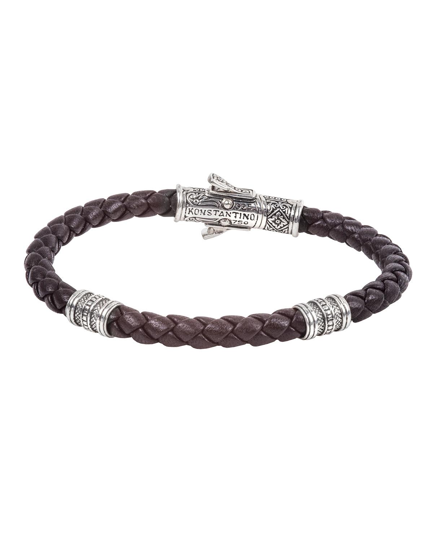18K White Gold Braided Leather Bracelet