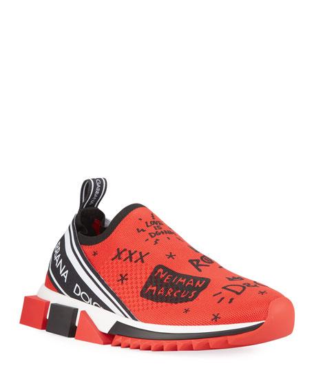 Dolce & Gabbana Men's Sorrento Graffiti Knit Trainer Sneakers