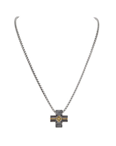18K Gold/Silver Cross Pendant Necklace