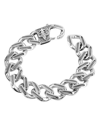 Men's Carved Silver Chain Link Bracelet