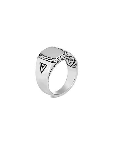 Men's Classic Chain Carved Silver Signet Ring, Size 9-13