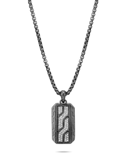 Men's Classic Chain Diamond Pave Dog Tag Necklace