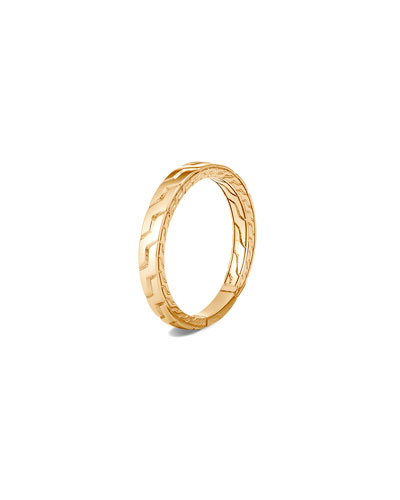 Men's 18K Yellow Gold Classic Chain Band Ring, Size 9-13