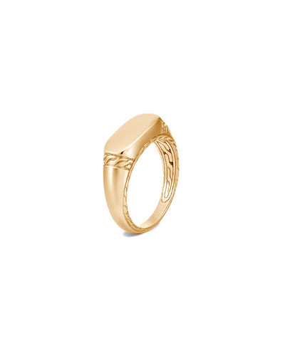 Men's 18K Yellow Gold Classic Chain Signet Ring, Size 9-13