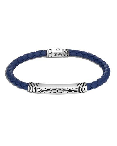 Men's Classic Chain Braided Leather/Silver Bracelet, Size M-L