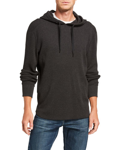 Men's Waffle-Knit Pullover Hoodie