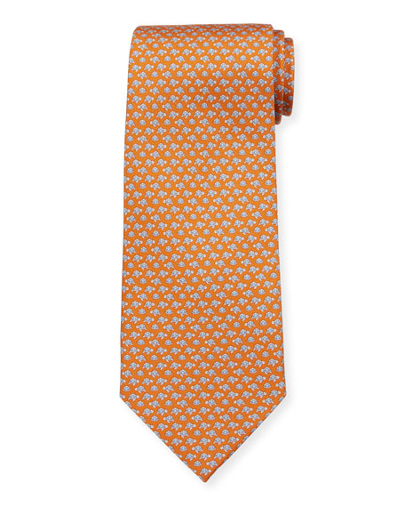 Salvatore Ferragamo Men's Sea Turtles Silk Tie, Orange