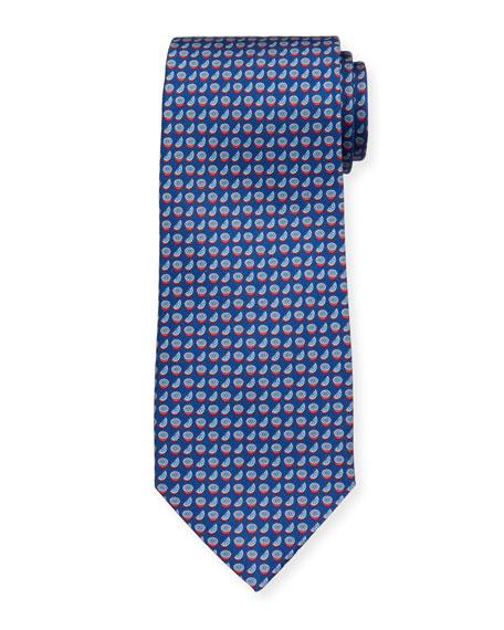 Salvatore Ferragamo  Limone Citrus-Print Tie, Navy