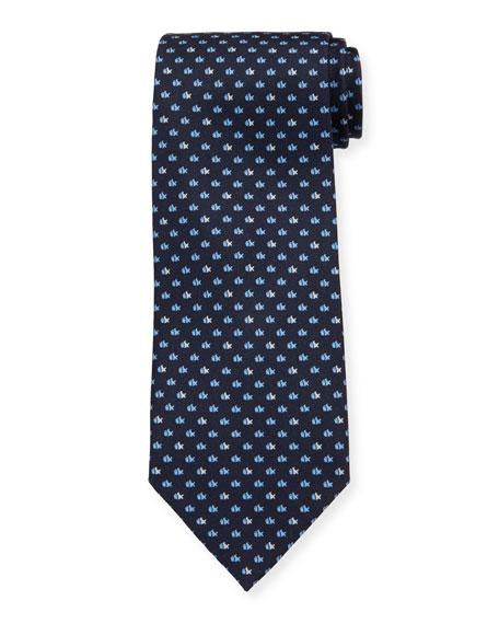 Salvatore Ferragamo  Lisca Fish-Print Tie, Navy