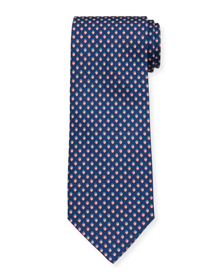 Salvatore Ferragamo Lalla Strawberry-Print Tie, Navy