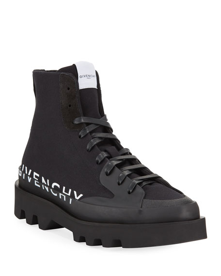 Givenchy Men's Clapham Logo High-Top Sneakers