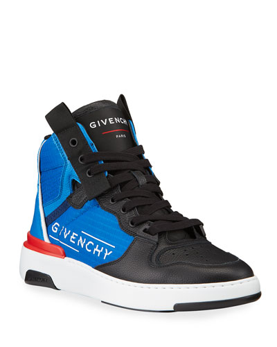 Men's Wing Colorblock Logo High-Top Sneakers