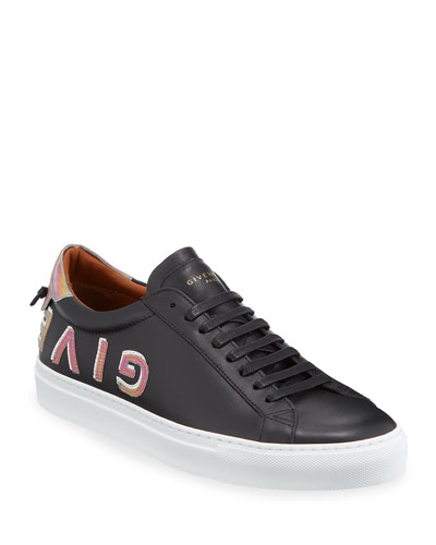 Men's Urban Street Iridescent-Logo Leather Sneakers