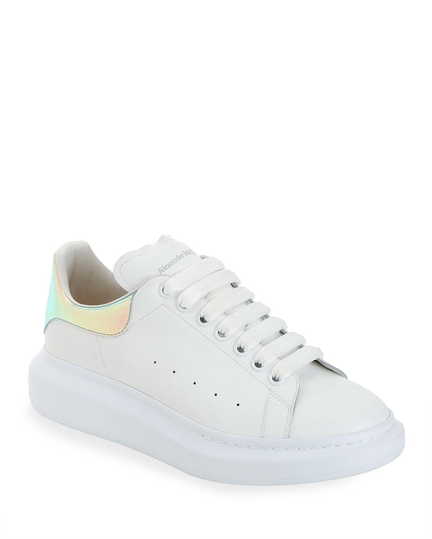 Alexander Mcqueen Sneakers MEN'S LEATHER PLATFORM SNEAKERS WITH IRIDESCENT BACK