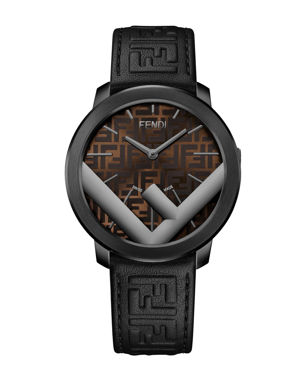 -Motif Analog Leather Watch