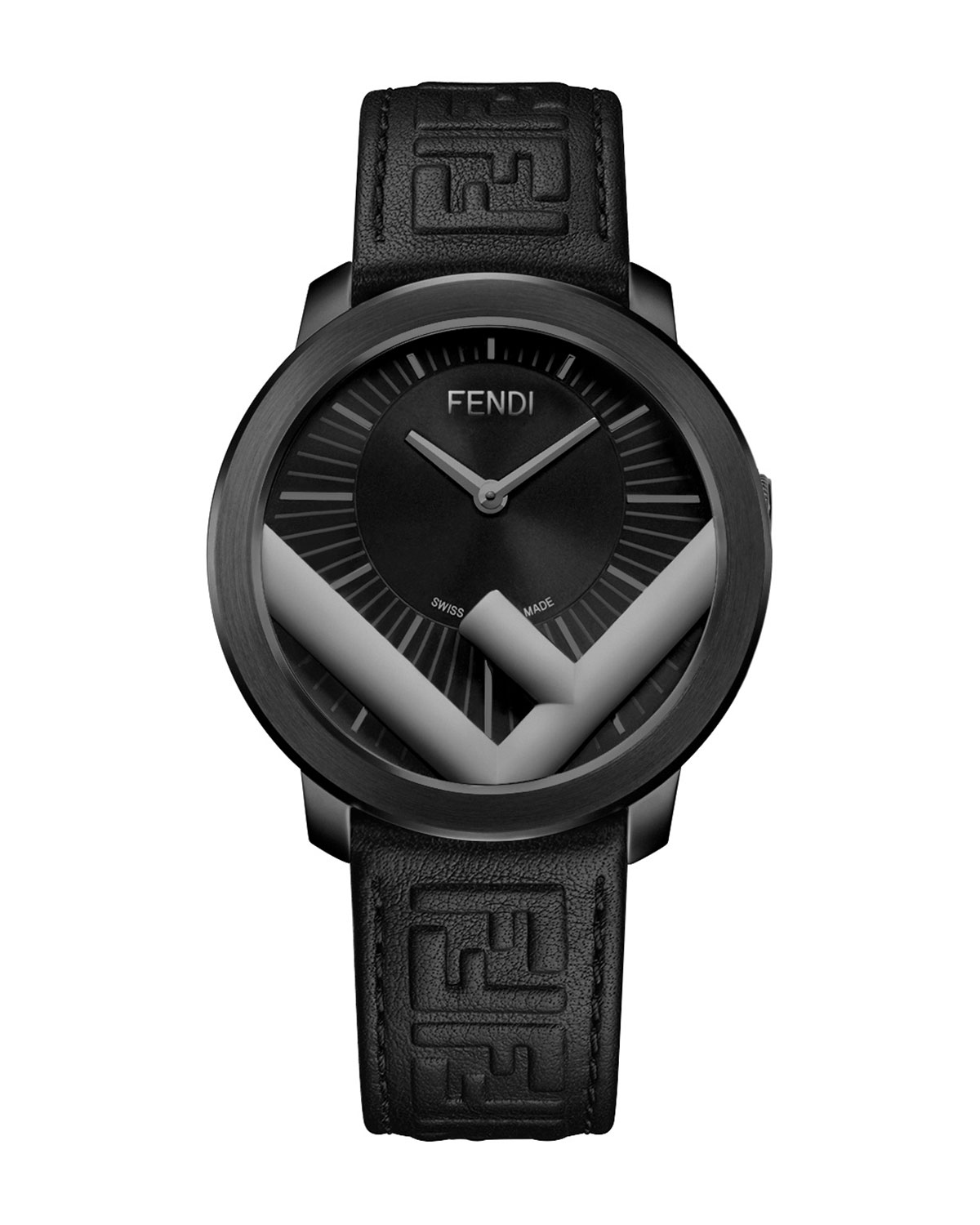 Embossed-Leather Analog Watch
