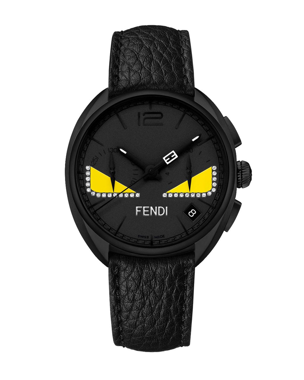 Bugs Chronograph Leather Watch w/ Diamonds