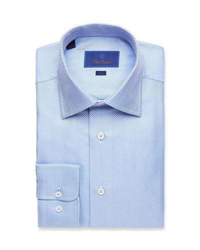 Men's Trim-Fit Herringbone Dress Shirt
