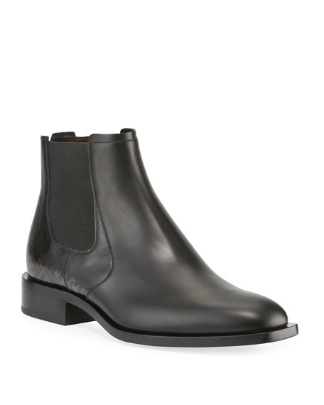 Fendi Men's Faded FF Leather Chelsea Boots