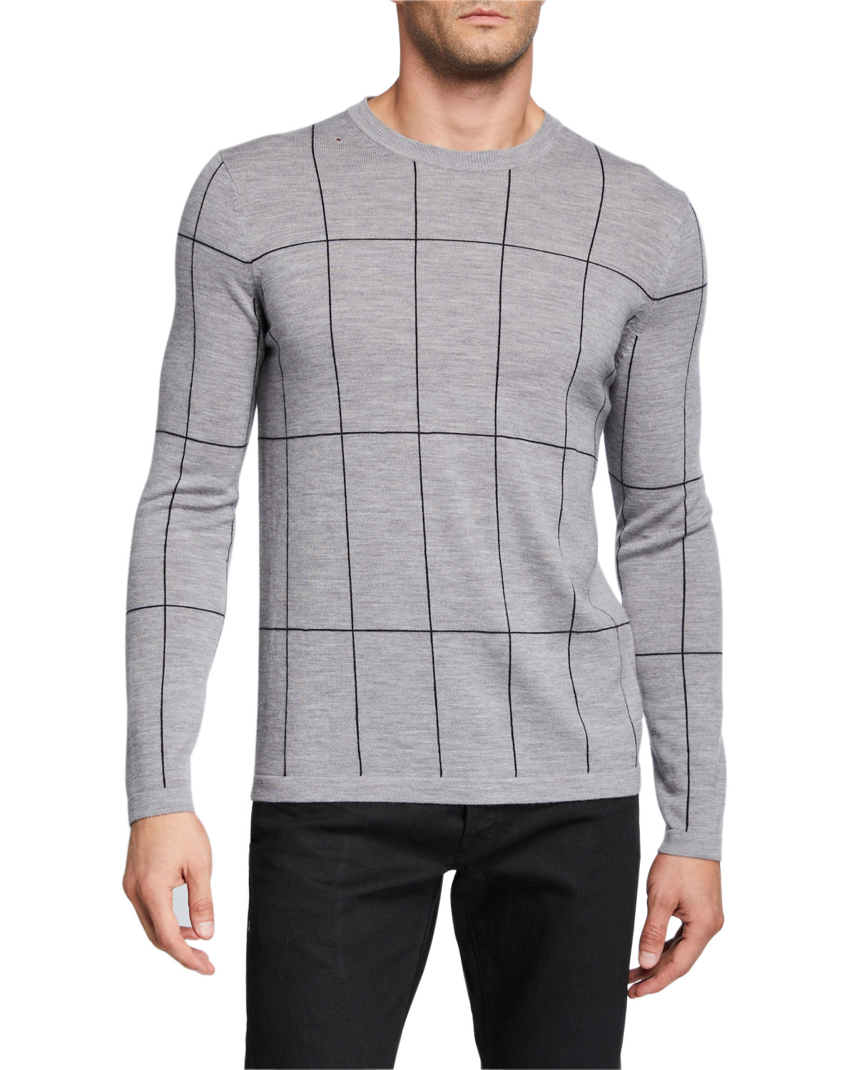 Theory Sweaters MEN'S MALIO MILOS GRID CHECK SWEATER