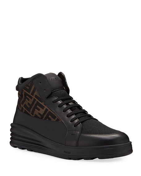 Fendi Men's High-Top FF Leather Platform Sneakers