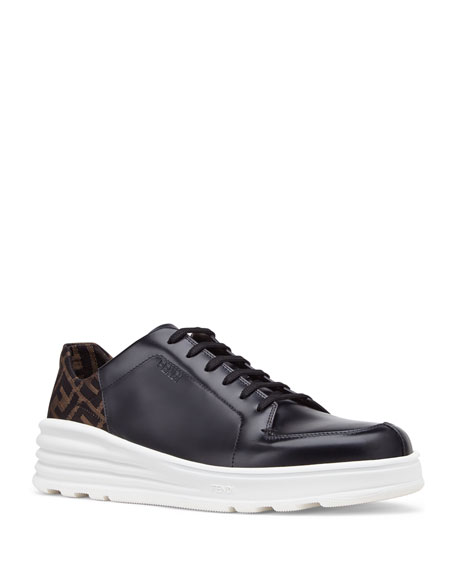 Fendi Men's Logo-Back Chunky Leather Sneakers