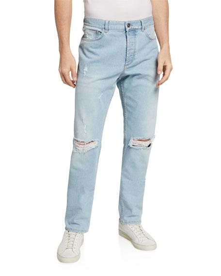 Givenchy Men's Light Wash Destroyed Jeans