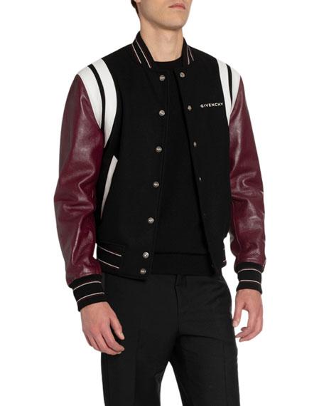 Givenchy Men's Split-Logo Bomber Jacket w/ Leather Sleeves