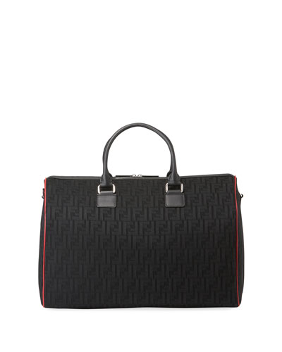 Men's FF Logo Leather-Trim Duffel Bag