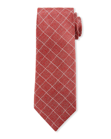 Canali Micro-Squares Silk Tie, Red
