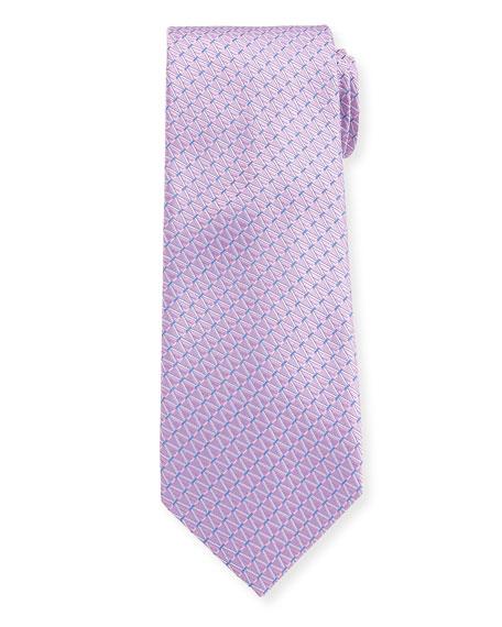 Canali Diamond Dashes Silk Tie, Pink