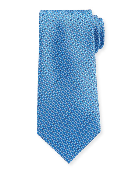 Canali Diamond Dashes Silk Tie, Blue