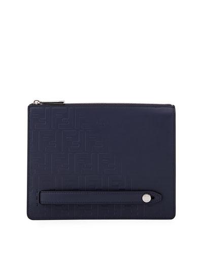 Men's Embossed FF Logo Leather Clutch Bag