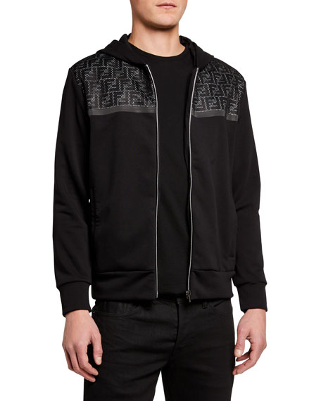 Fendi Men's FF Net Zip-Front Hoodie Sweatshirt