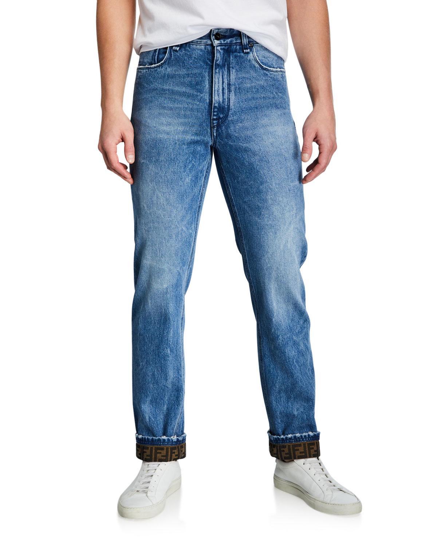Men's Turn-Up FF-Cuff Straight-Leg Jeans
