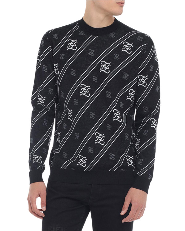 Fendi Sweaters MEN'S KARLIGRAPHY WOOL SWEATER