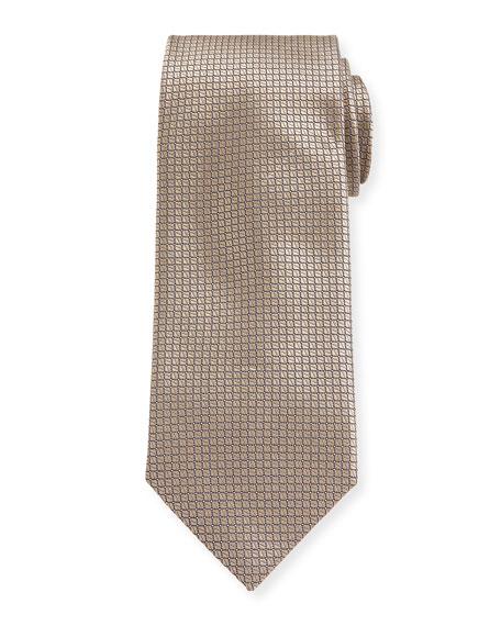 Canali Men's Micro Squares Silk Tie, Beige