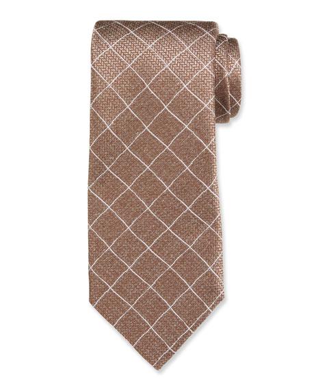 Canali Large Box Jacquard Silk Tie, Brown