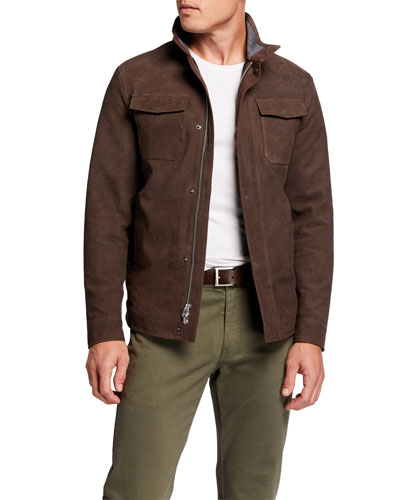 Men's Nubuck Leather Shirt Jacket