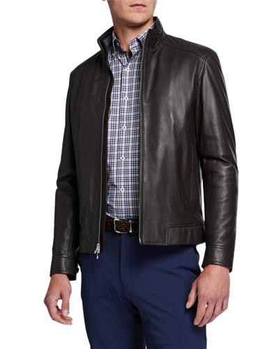 Men's Leather Zip-Front Jacket