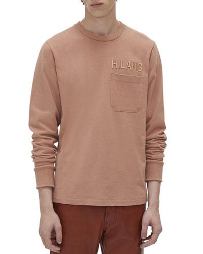 Men's Raised Embroidery Long-Sleeve Pocket T-Shirt