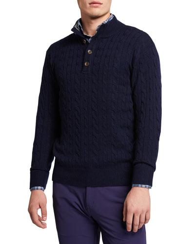 Men's Quarter-Button Cable-Knit Sweater