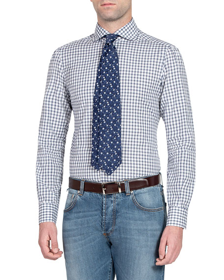 Isaia Men's Check Cotton Sport Shirt
